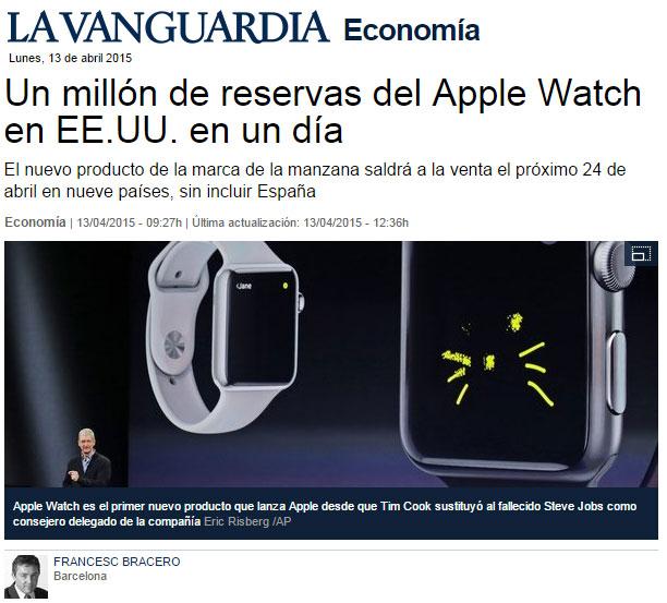 Un millon de reservas del Apple Watch en un dia